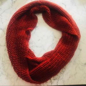 Chunky Round Burnt Orange Knit Scarf